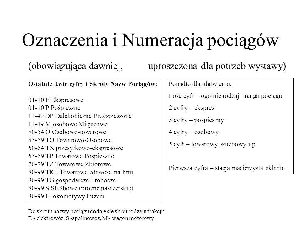 Oznaczenia i Numeracja pociągów (obowiązująca dawniej, uproszczona dla potrzeb wystawy) Ostatnie dwie cyfry i Skróty Nazw Pociągów: 01-10 E Ekspresowe