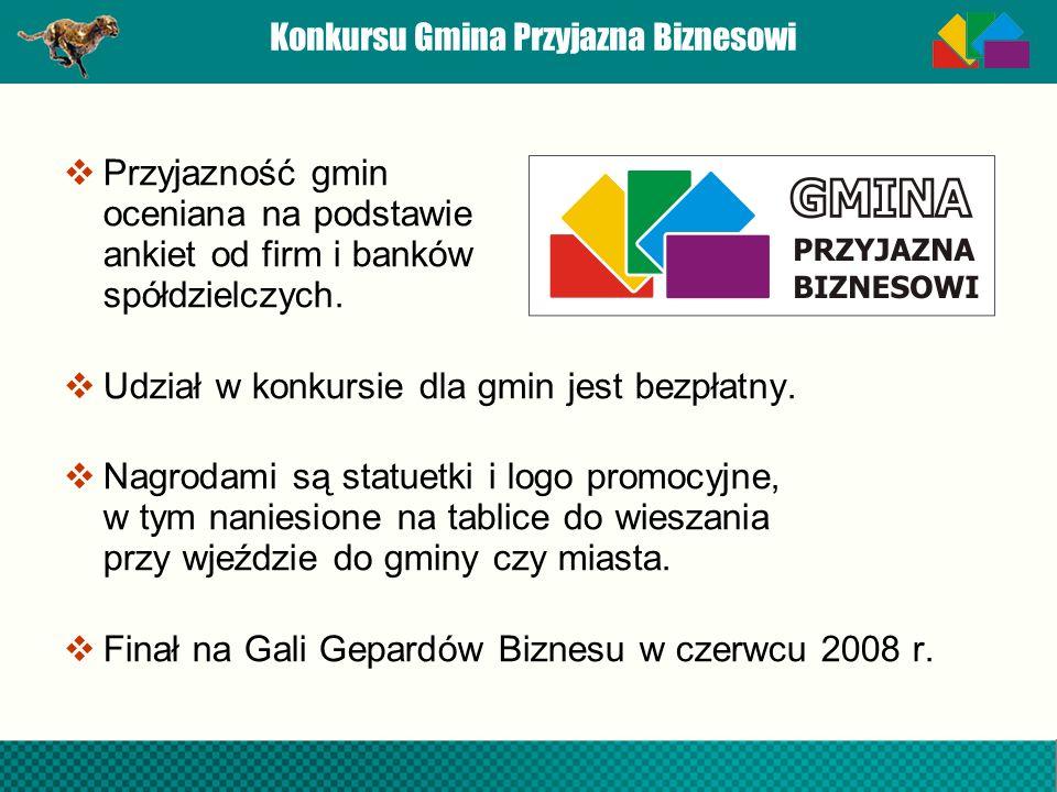 Konkursu Gmina Przyjazna Biznesowi Przyjazność gmin oceniana na podstawie ankiet od firm i banków spółdzielczych. Udział w konkursie dla gmin jest bez