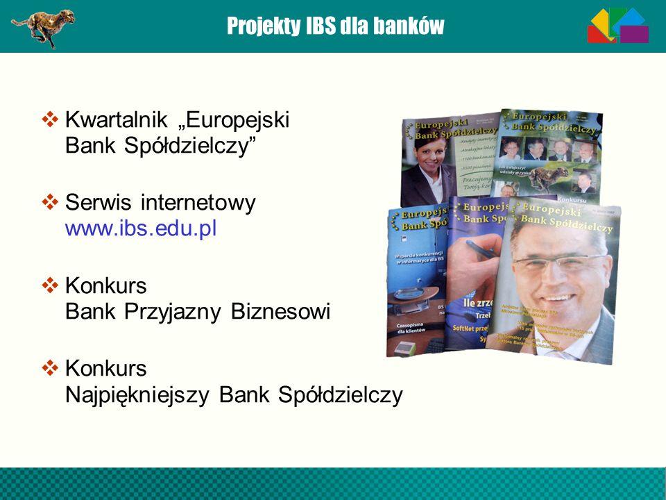 Projekty IBS dla banków Kwartalnik Europejski Bank Spółdzielczy Serwis internetowy www.ibs.edu.pl Konkurs Bank Przyjazny Biznesowi Konkurs Najpiękniej