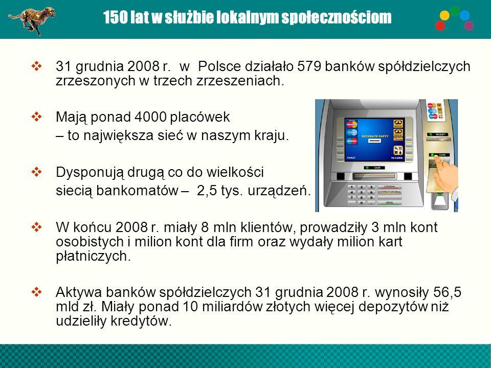 150 lat w służbie lokalnym społecznościom 31 grudnia 2008 r. w Polsce działało 579 banków spółdzielczych zrzeszonych w trzech zrzeszeniach. Mają ponad
