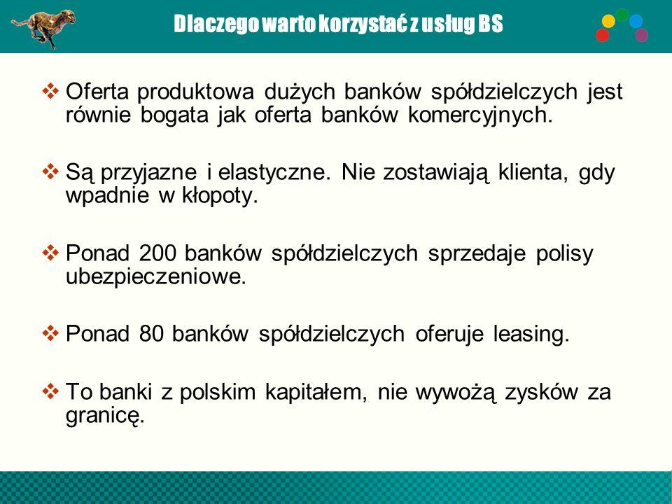 Dlaczego warto korzystać z usług BS Oferta produktowa dużych banków spółdzielczych jest równie bogata jak oferta banków komercyjnych. Są przyjazne i e