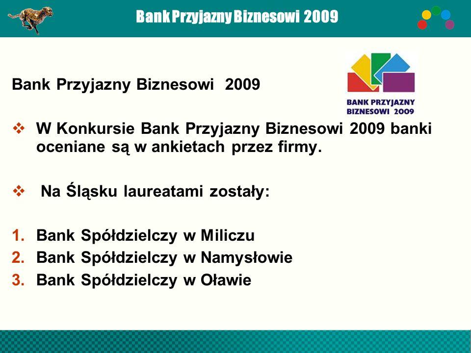 Bank Przyjazny Biznesowi 2009 W Konkursie Bank Przyjazny Biznesowi 2009 banki oceniane są w ankietach przez firmy. Na Śląsku laureatami zostały: 1.Ban