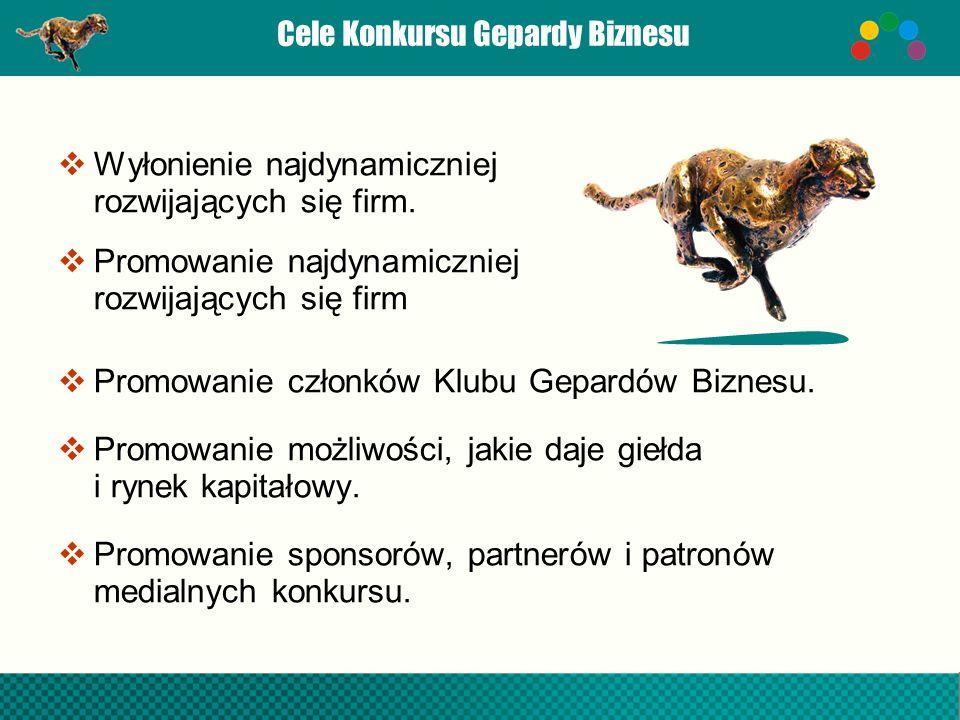Cele Konkursu Gepardy Biznesu Wyłonienie najdynamiczniej rozwijających się firm. Promowanie najdynamiczniej rozwijających się firm Promowanie członków