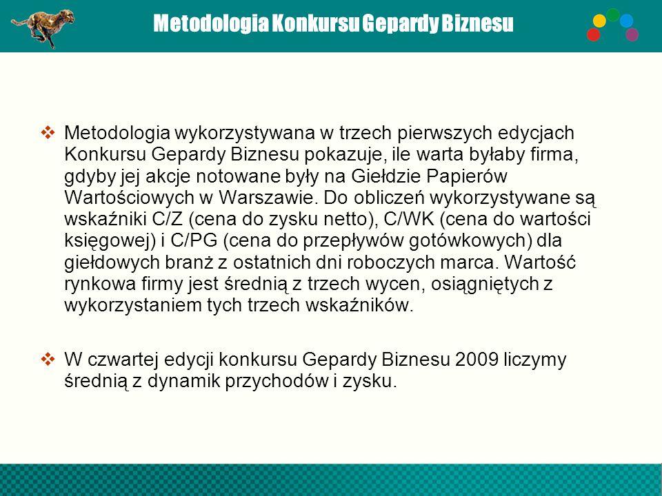 Metodologia Konkursu Gepardy Biznesu Metodologia wykorzystywana w trzech pierwszych edycjach Konkursu Gepardy Biznesu pokazuje, ile warta byłaby firma