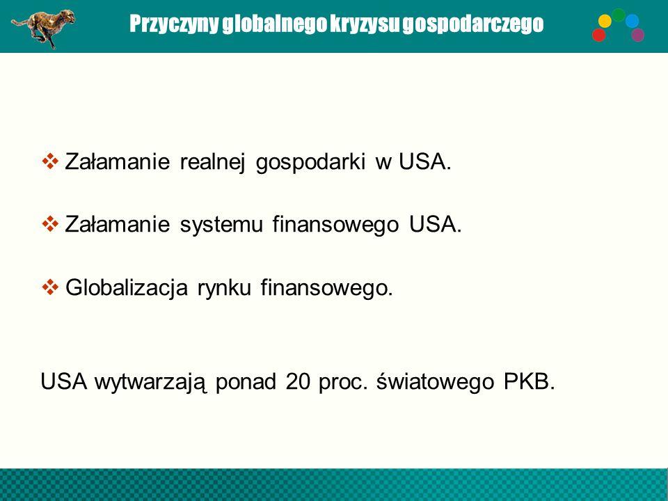 Przyczyny globalnego kryzysu gospodarczego Załamanie realnej gospodarki w USA. Załamanie systemu finansowego USA. Globalizacja rynku finansowego. USA