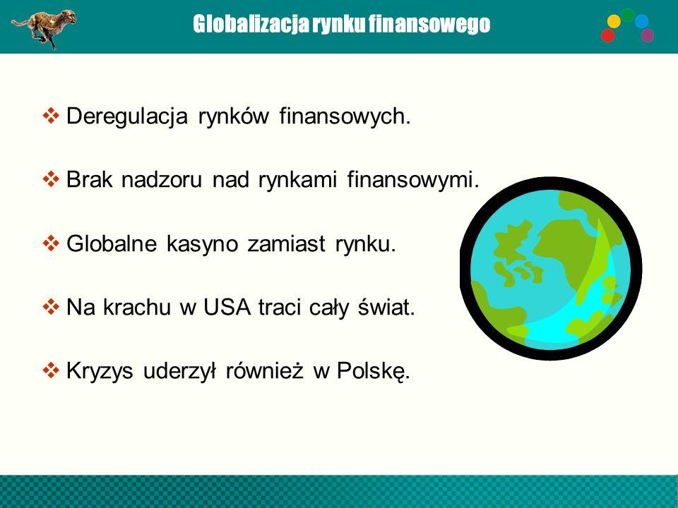 Globalizacja rynku finansowego Deregulacja rynków finansowych. Brak nadzoru nad rynkami finansowymi. Globalne kasyno zamiast rynku. Na krachu w USA tr
