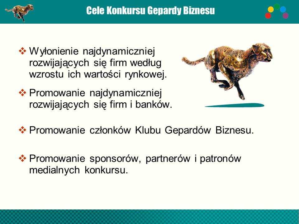 Cele Konkursu Gepardy Biznesu Wyłonienie najdynamiczniej rozwijających się firm według wzrostu ich wartości rynkowej. Promowanie najdynamiczniej rozwi