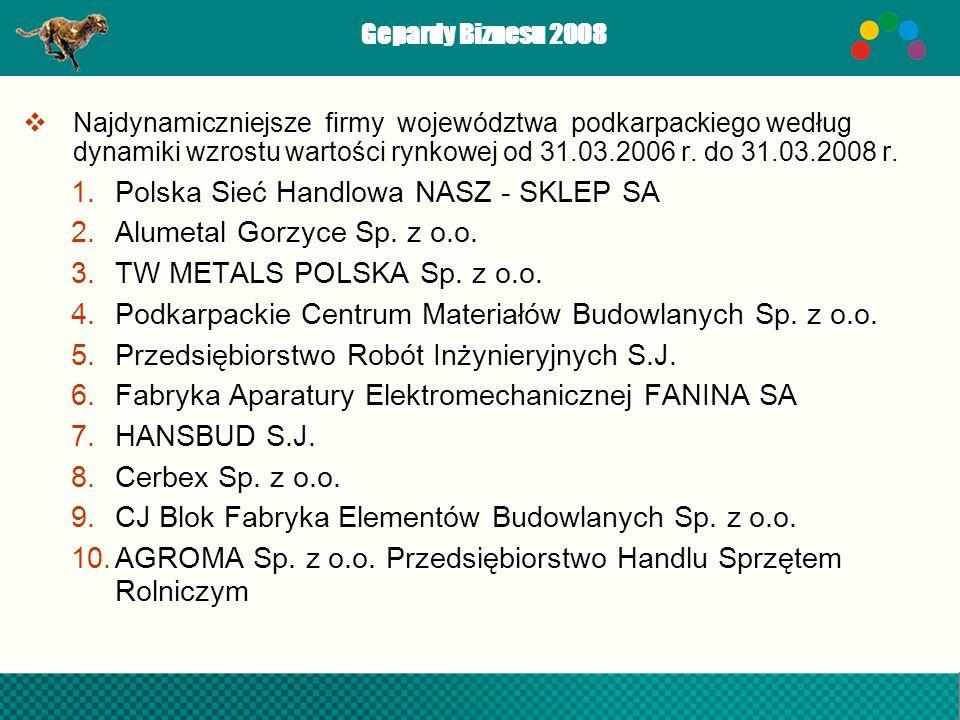 Gepardy Biznesu 2008 Najdynamiczniejsze firmy województwa podkarpackiego według dynamiki wzrostu wartości rynkowej od 31.03.2006 r. do 31.03.2008 r. 1