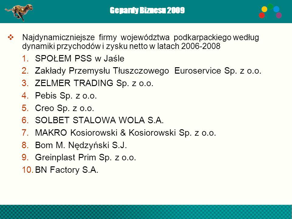 Gepardy Biznesu 2009 Najdynamiczniejsze firmy województwa podkarpackiego według dynamiki przychodów i zysku netto w latach 2006-2008 1.SPOŁEM PSS w Ja