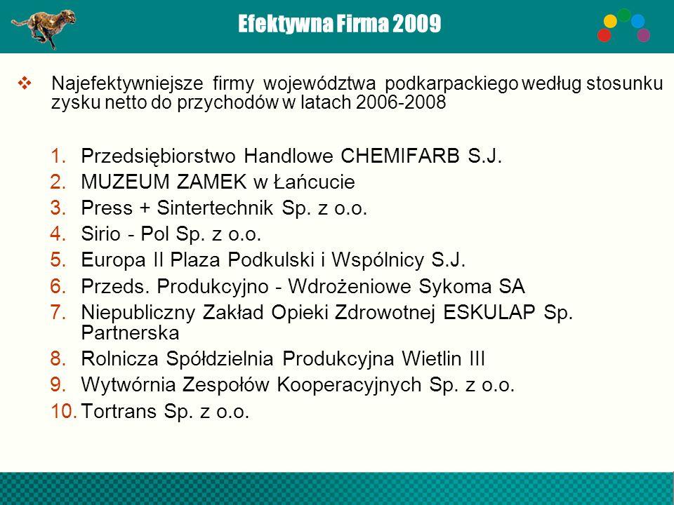 Efektywna Firma 2009 Najefektywniejsze firmy województwa podkarpackiego według stosunku zysku netto do przychodów w latach 2006-2008 1.Przedsiębiorstw