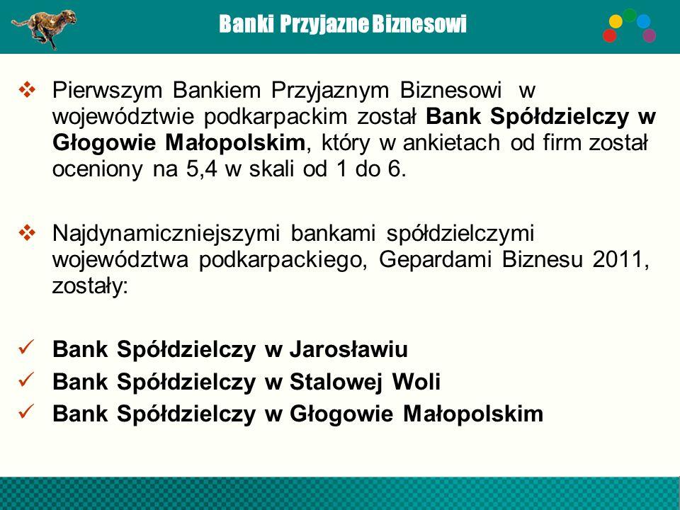 Banki Przyjazne Biznesowi Pierwszym Bankiem Przyjaznym Biznesowi w województwie podkarpackim został Bank Spółdzielczy w Głogowie Małopolskim, który w
