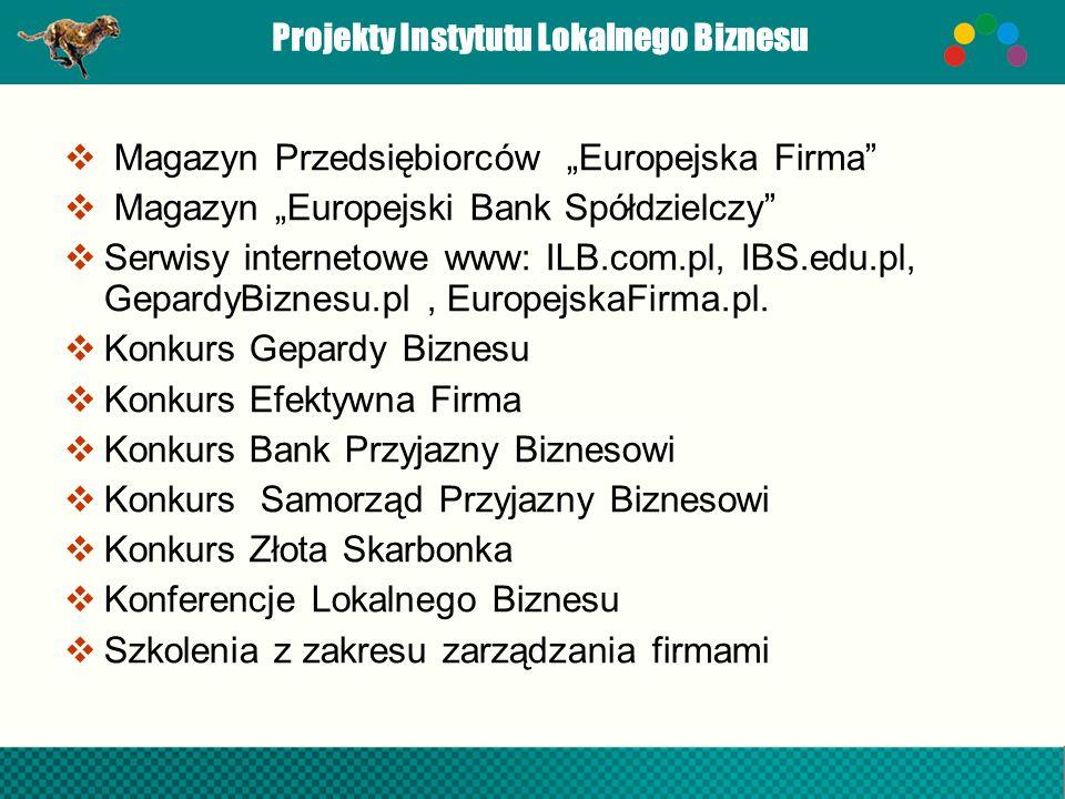 Projekty Instytutu Lokalnego Biznesu Magazyn Przedsiębiorców Europejska Firma Magazyn Europejski Bank Spółdzielczy Serwisy internetowe www: ILB.com.pl