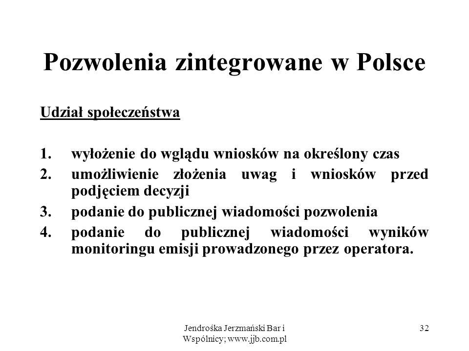Jendrośka Jerzmański Bar i Wspólnicy; www.jjb.com.pl 32 Pozwolenia zintegrowane w Polsce Udział społeczeństwa 1.wyłożenie do wglądu wniosków na określ