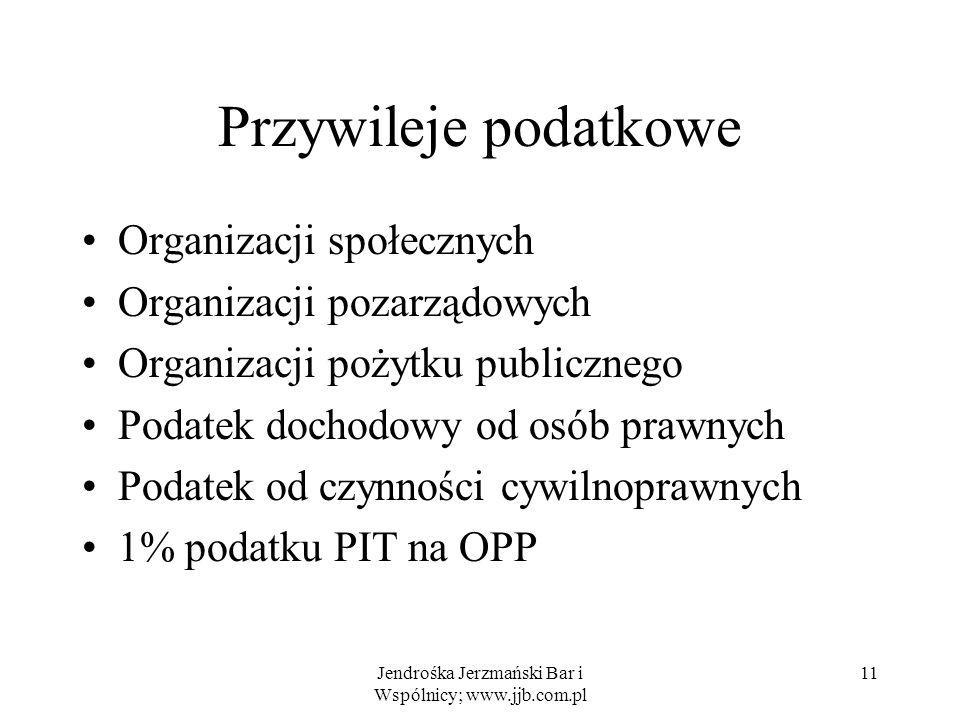 Jendrośka Jerzmański Bar i Wspólnicy; www.jjb.com.pl 11 Przywileje podatkowe Organizacji społecznych Organizacji pozarządowych Organizacji pożytku pub