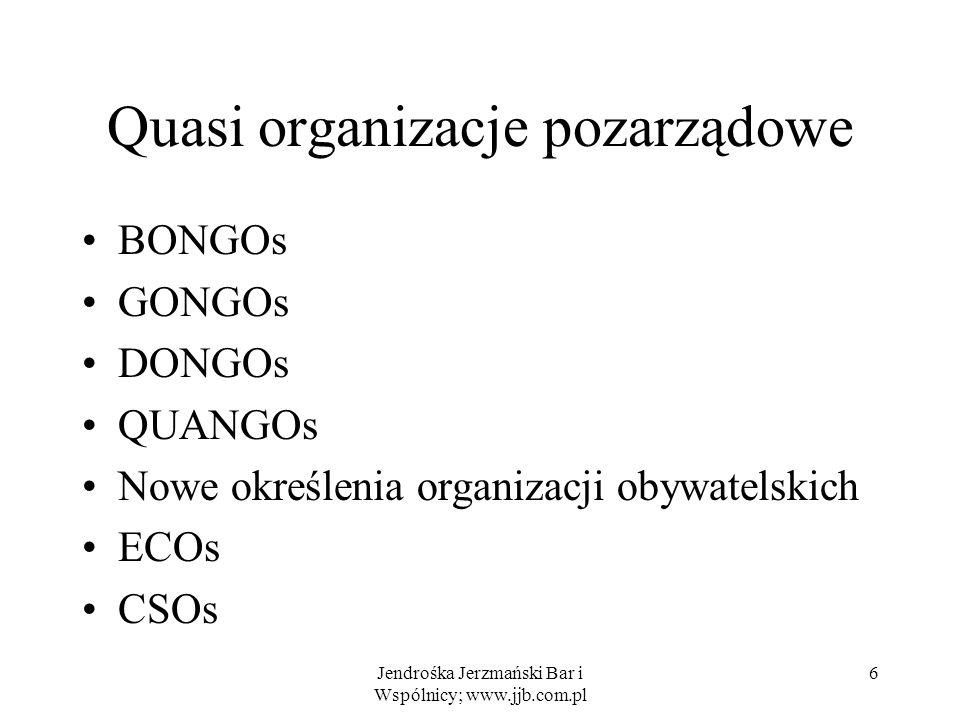 Jendrośka Jerzmański Bar i Wspólnicy; www.jjb.com.pl 6 Quasi organizacje pozarządowe BONGOs GONGOs DONGOs QUANGOs Nowe określenia organizacji obywatel