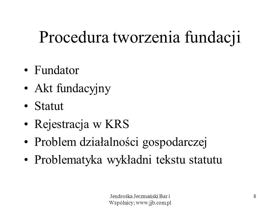 Jendrośka Jerzmański Bar i Wspólnicy; www.jjb.com.pl 8 Procedura tworzenia fundacji Fundator Akt fundacyjny Statut Rejestracja w KRS Problem działalno