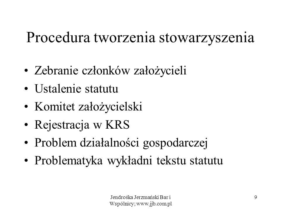 Jendrośka Jerzmański Bar i Wspólnicy; www.jjb.com.pl 9 Procedura tworzenia stowarzyszenia Zebranie członków założycieli Ustalenie statutu Komitet zało