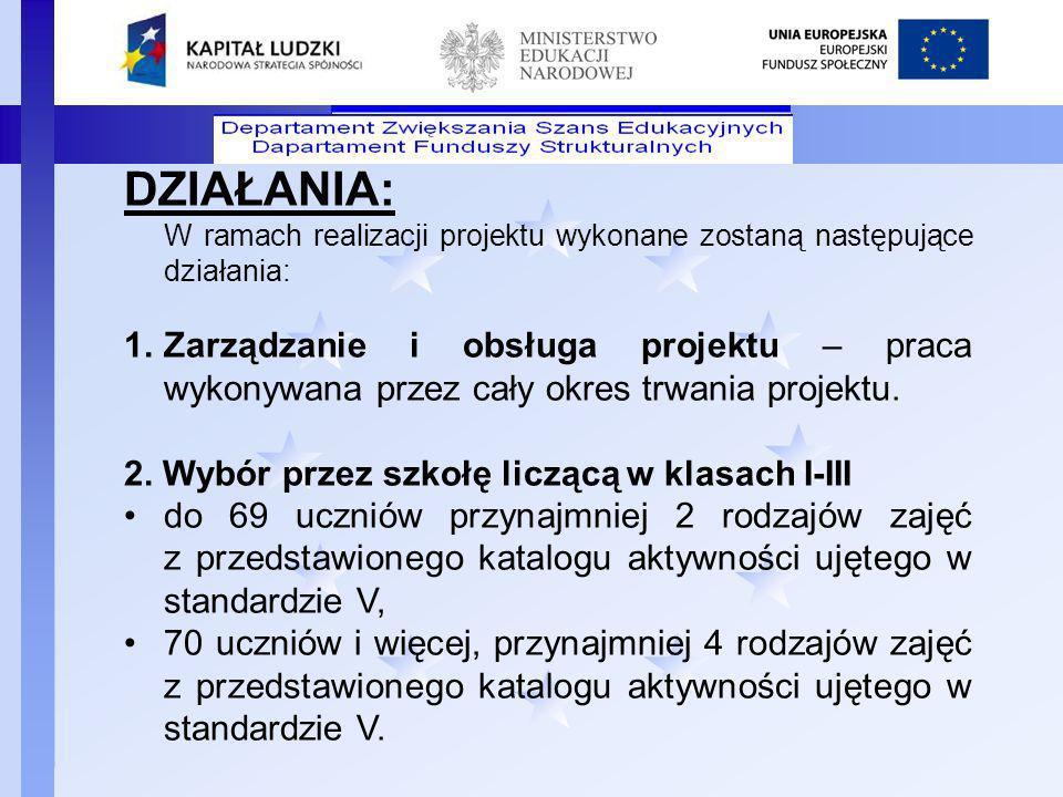 Departament Funduszy Strukturalnych DZIAŁANIA: W ramach realizacji projektu wykonane zostaną następujące działania: 1.Zarządzanie i obsługa projektu –