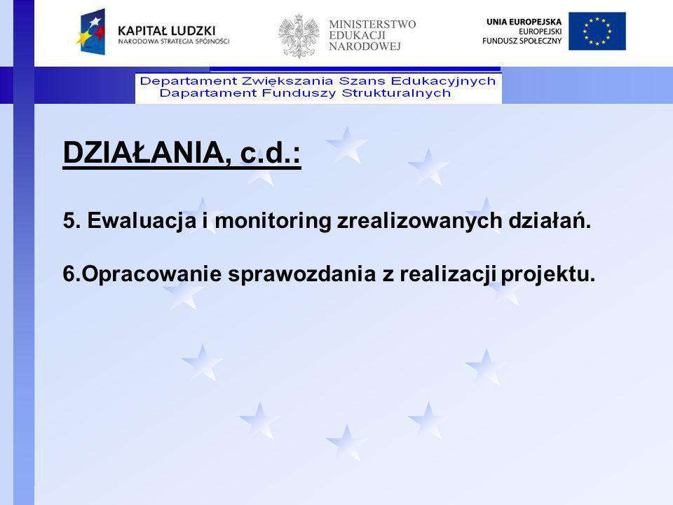 Departament Funduszy Strukturalnych DZIAŁANIA, c.d.: 5. Ewaluacja i monitoring zrealizowanych działań. 6.Opracowanie sprawozdania z realizacji projekt