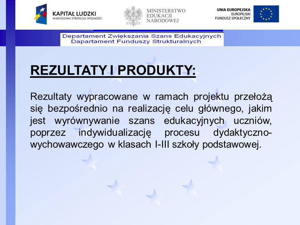 Departament Funduszy Strukturalnych REZULTATY I PRODUKTY: Rezultaty wypracowane w ramach projektu przełożą się bezpośrednio na realizację celu główneg