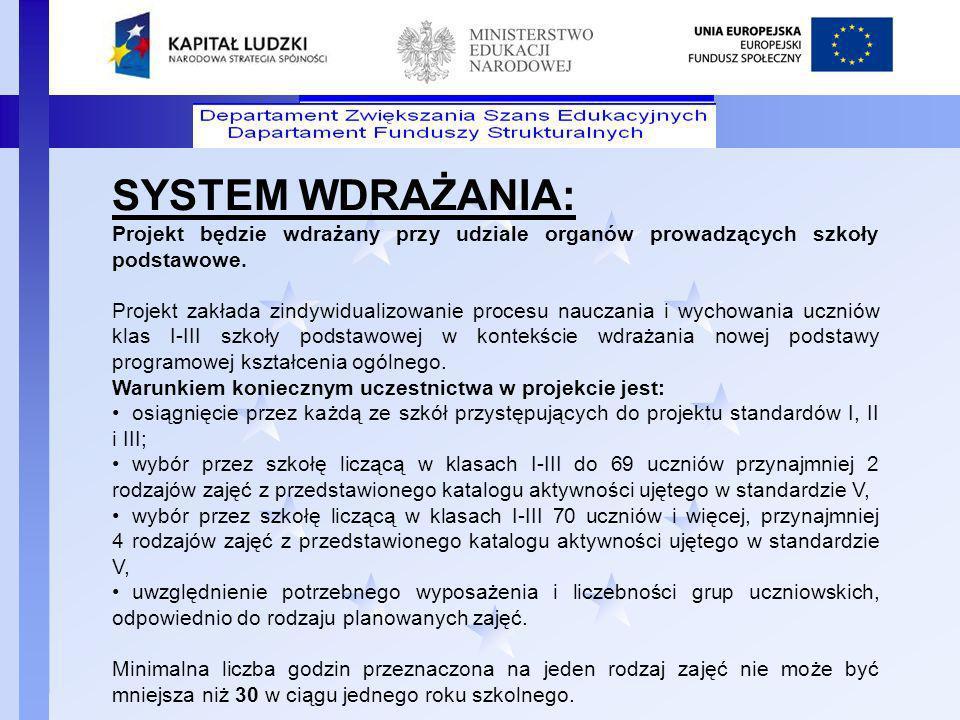 Departament Funduszy Strukturalnych SYSTEM WDRAŻANIA: Projekt będzie wdrażany przy udziale organów prowadzących szkoły podstawowe. Projekt zakłada zin