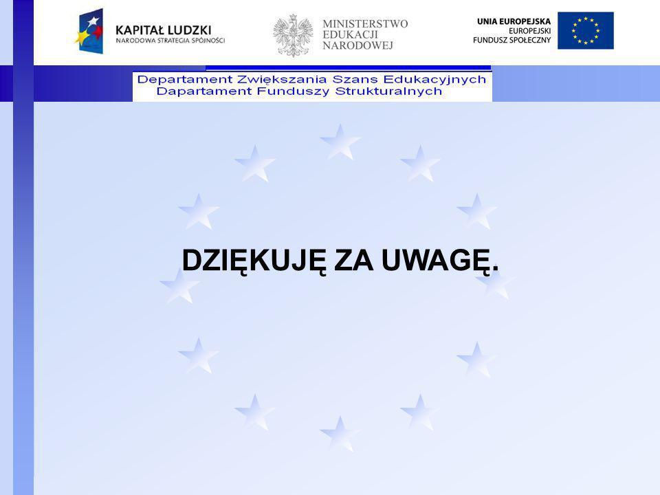 Departament Funduszy Strukturalnych DZIĘKUJĘ ZA UWAGĘ.