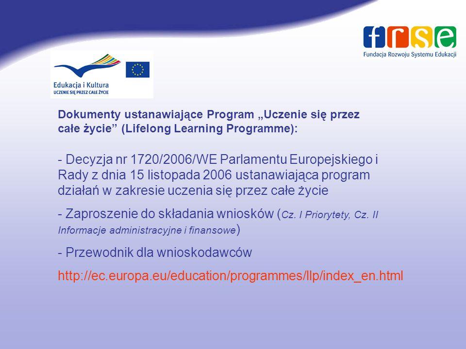 Comenius Edukacja szkolna Erasmus Szkoły wyższe Leonardo da Vinci Szkolnictwo i doskonalenie zawodowe Grundtvig Edukacja dorosłych Program międzysektorowy 4 rodzaje aktywności – rozwój polityki edukacyjnej; kształcenie językowe; rozwój nowoczesnych technologii informacyjnych; rozpowszechnianie przykładów najlepszej praktyki Program Jean Monnet 3 rodzaje aktywności – Akcja Jean Monnet; europejskie instytucje; stowarzyszenia europejskie Struktura programu LLP