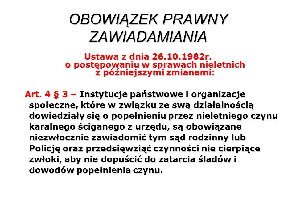 OBOWIĄZEK PRAWNY ZAWIADAMIANIA Ustawa z dnia 26.10.1982r. o postępowaniu w sprawach nieletnich z późniejszymi zmianami: Art. 4 § 3 – Instytucje państw