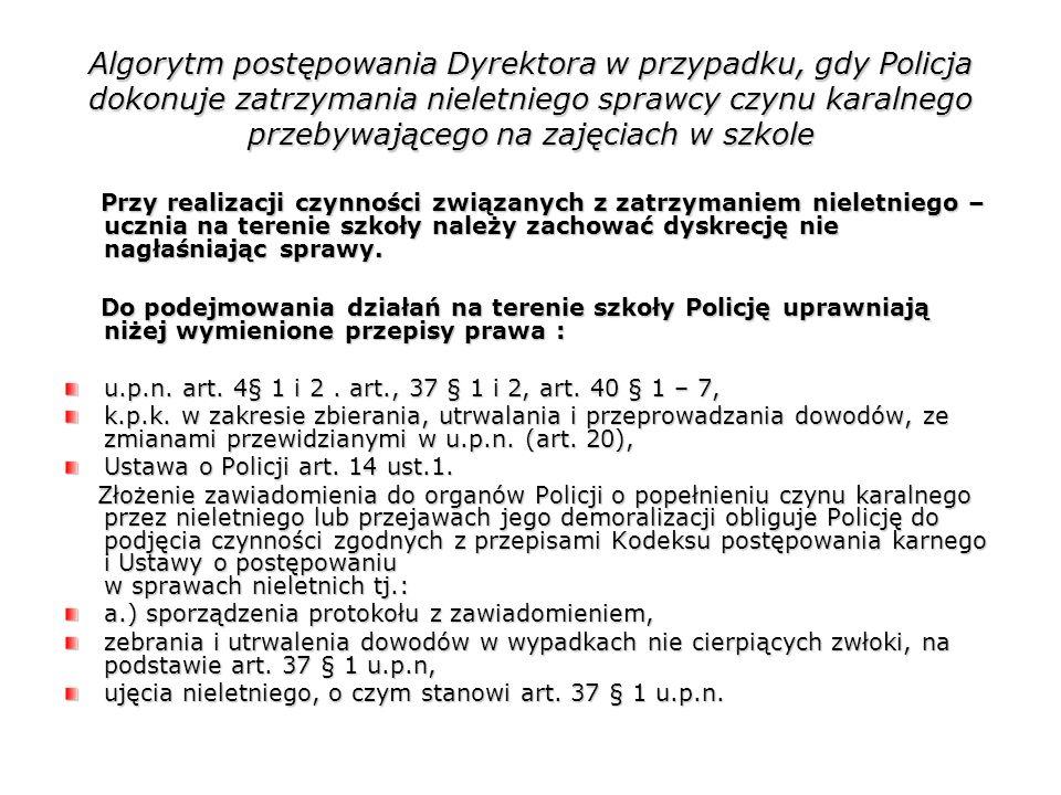 Algorytm postępowania Dyrektora w przypadku, gdy Policja dokonuje zatrzymania nieletniego sprawcy czynu karalnego przebywającego na zajęciach w szkole