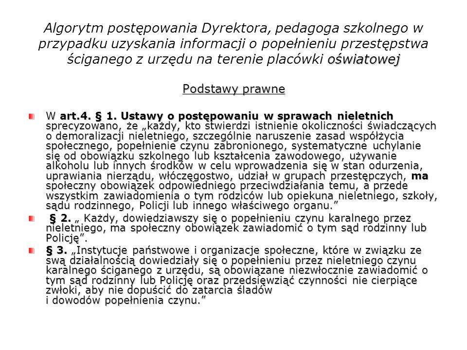 oświatowej Algorytm postępowania Dyrektora, pedagoga szkolnego w przypadku uzyskania informacji o popełnieniu przestępstwa ściganego z urzędu na teren