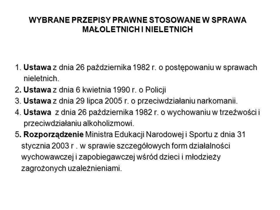 WYBRANE PRZEPISY PRAWNE STOSOWANE W SPRAWA MAŁOLETNICH I NIELETNICH 1. Ustawa z dnia 26 października 1982 r. o postępowaniu w sprawach nieletnich. nie