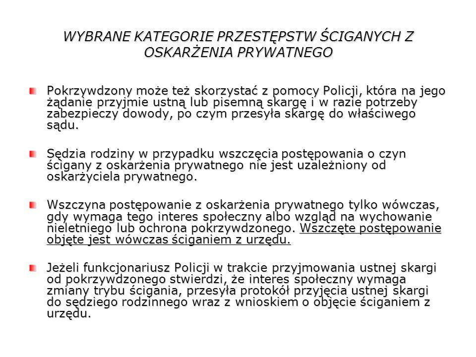WYBRANE KATEGORIE PRZESTĘPSTW ŚCIGANYCH Z OSKARŻENIA PRYWATNEGO Pokrzywdzony może też skorzystać z pomocy Policji, która na jego żądanie przyjmie ustn