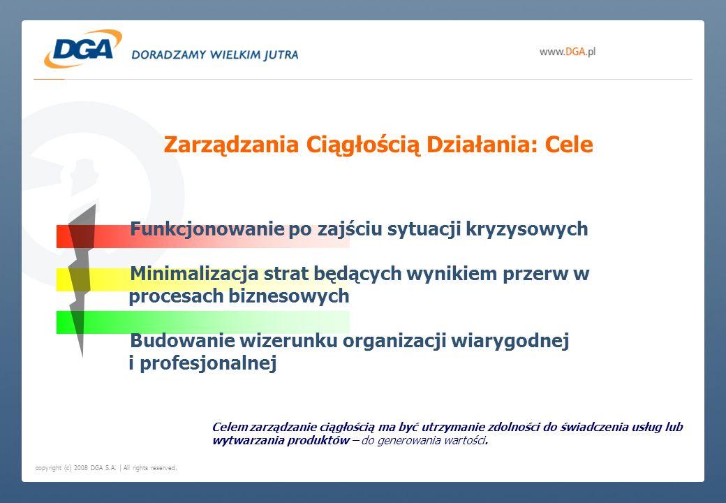 copyright (c) 2008 DGA S.A. | All rights reserved. Funkcjonowanie po zajściu sytuacji kryzysowych Minimalizacja strat będących wynikiem przerw w proce