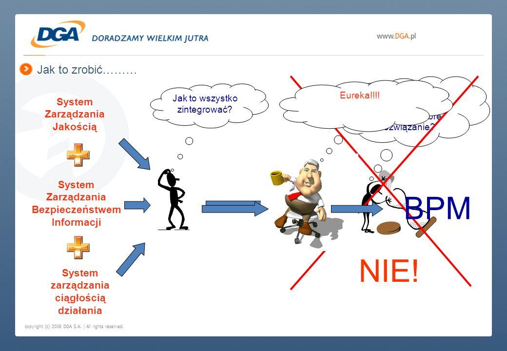 copyright (c) 2008 DGA S.A. | All rights reserved. Jak to zrobić……… System Zarządzania Jakością System Zarządzania Bezpieczeństwem Informacji System z