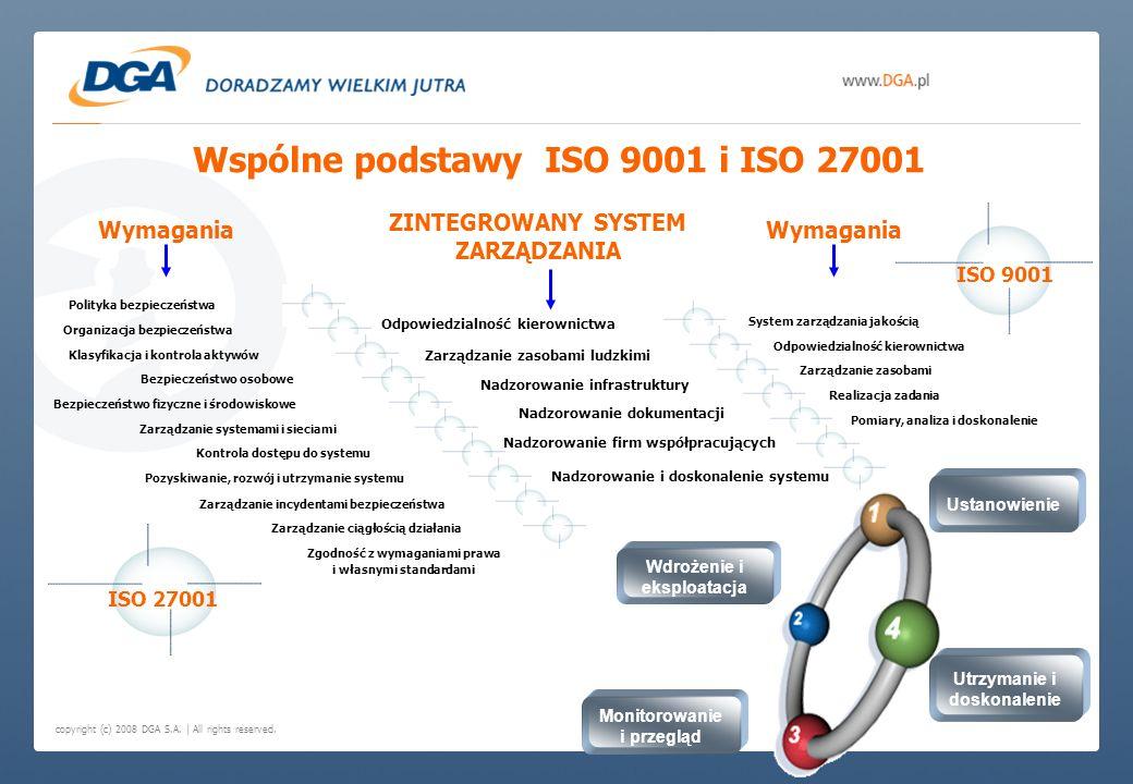 copyright (c) 2008 DGA S.A. | All rights reserved. Wspólne podstawy ISO 9001 i ISO 27001 ZINTEGROWANY SYSTEM ZARZĄDZANIA ISO 9001 ISO 27001 Odpowiedzi