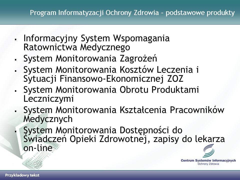 Przykładowy tekst Program Informatyzacji Ochrony Zdrowia – podstawowe produkty Informacyjny System Wspomagania Ratownictwa Medycznego System Monitorow