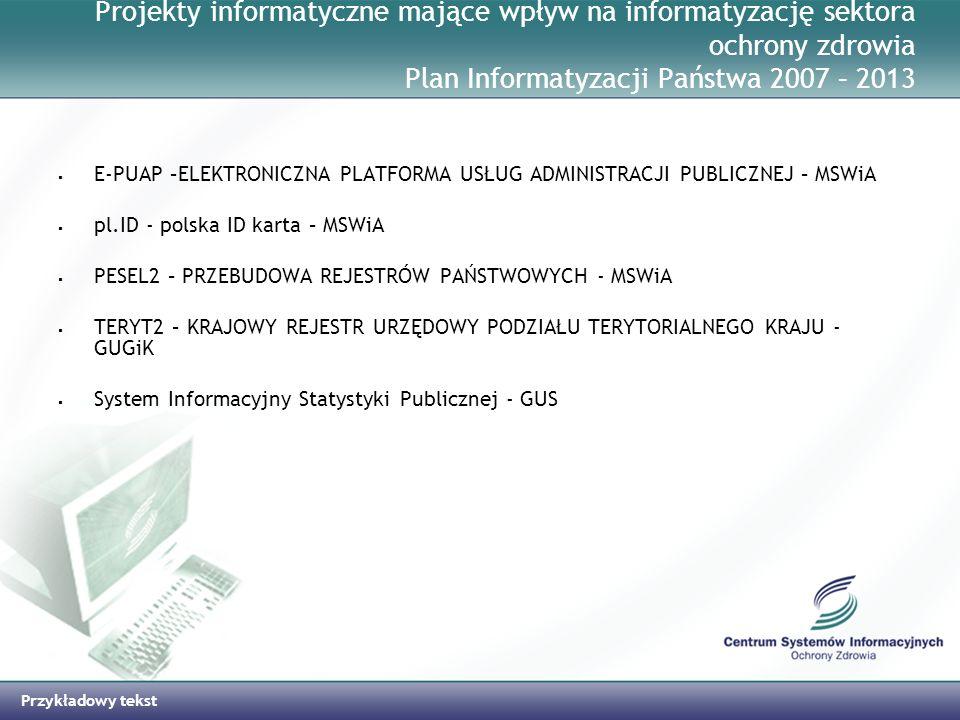 Przykładowy tekst Projekty informatyczne mające wpływ na informatyzację sektora ochrony zdrowia Plan Informatyzacji Państwa 2007 – 2013 E-PUAP –ELEKTR