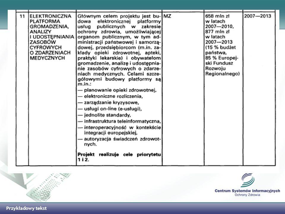 Przykładowy tekst Projekty informatyczne mające wpływ na informatyzację sektora ochrony zdrowia Plan Informatyzacji Państwa 2007 – 2013 E-PUAP –ELEKTRONICZNA PLATFORMA USŁUG ADMINISTRACJI PUBLICZNEJ – MSWiA pl.ID - polska ID karta – MSWiA PESEL2 – PRZEBUDOWA REJESTRÓW PAŃSTWOWYCH - MSWiA TERYT2 – KRAJOWY REJESTR URZĘDOWY PODZIAŁU TERYTORIALNEGO KRAJU - GUGiK System Informacyjny Statystyki Publicznej - GUS