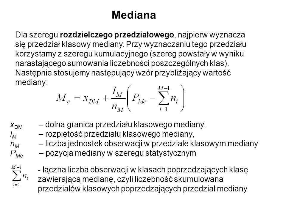 Dla szeregu rozdzielczego przedziałowego, najpierw wyznacza się przedział klasowy mediany. Przy wyznaczaniu tego przedziału korzystamy z szeregu kumul