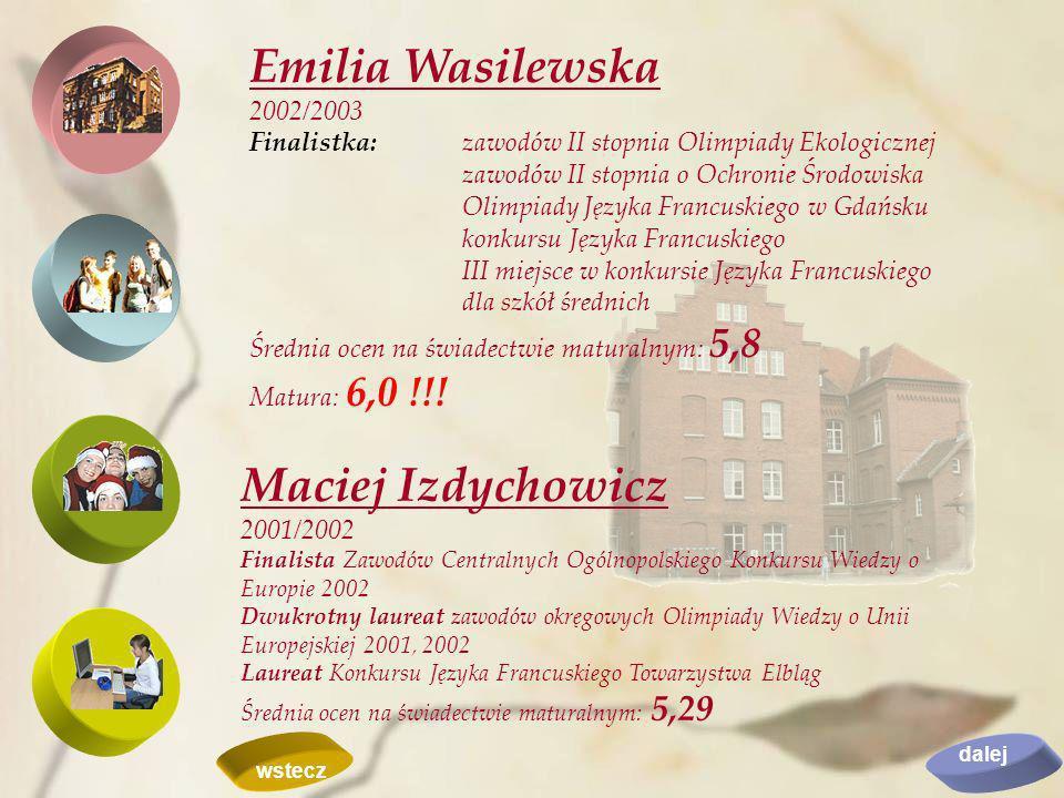 Emilia Wasilewska 2002/2003 Finalistka:zawodów II stopnia Olimpiady Ekologicznej zawodów II stopnia o Ochronie Środowiska Olimpiady Języka Francuskieg