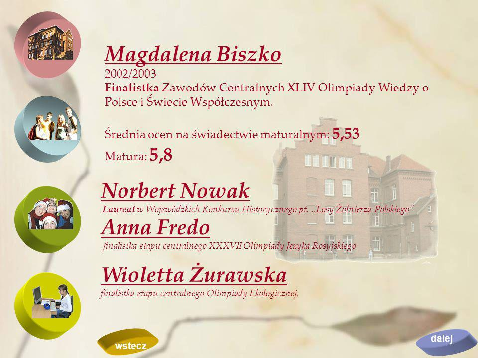 Magdalena Biszko 2002/2003 Finalistka Zawodów Centralnych XLIV Olimpiady Wiedzy o Polsce i Świecie Współczesnym. Średnia ocen na świadectwie maturalny
