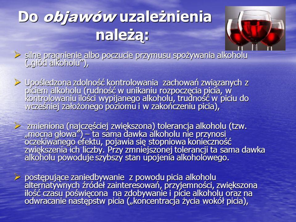 Do objawów uzależnienia należą: silne pragnienie albo poczucie przymusu spożywania alkoholu (głód alkoholu), silne pragnienie albo poczucie przymusu s