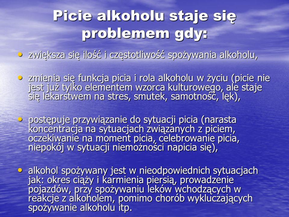 Picie alkoholu staje się problemem gdy: zwiększa się ilość i częstotliwość spożywania alkoholu, zwiększa się ilość i częstotliwość spożywania alkoholu