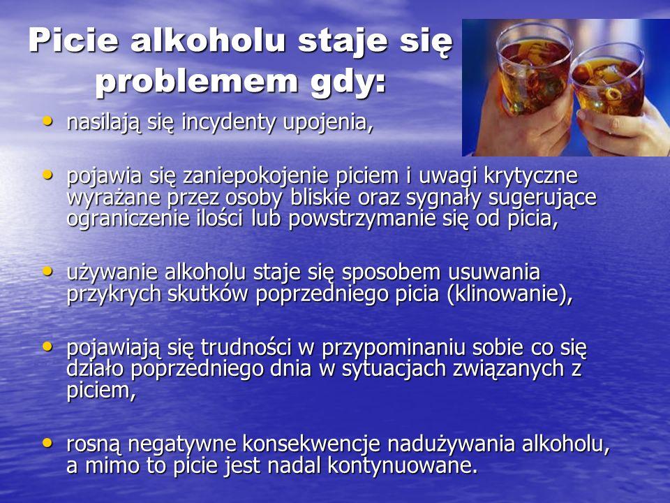 Picie alkoholu staje się problemem gdy: nasilają się incydenty upojenia, nasilają się incydenty upojenia, pojawia się zaniepokojenie piciem i uwagi kr