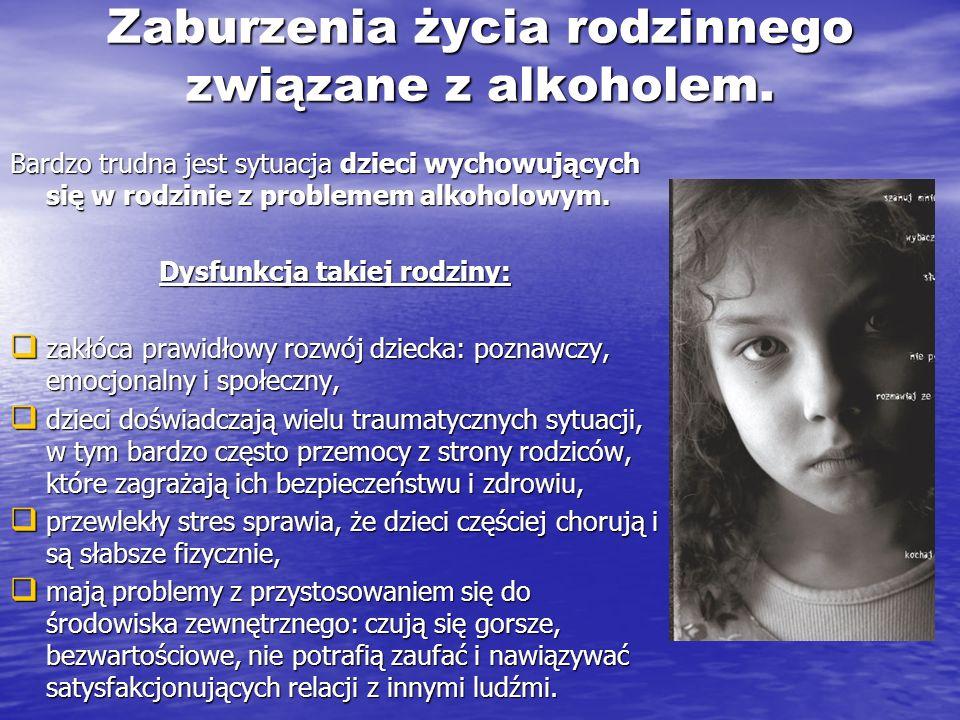 Zaburzenia życia rodzinnego związane z alkoholem. Bardzo trudna jest sytuacja dzieci wychowujących się w rodzinie z problemem alkoholowym. Dysfunkcja