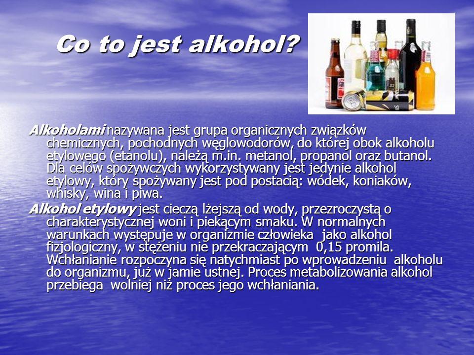 Co to jest alkohol? Co to jest alkohol? Alkoholami nazywana jest grupa organicznych związków chemicznych, pochodnych węglowodorów, do której obok alko