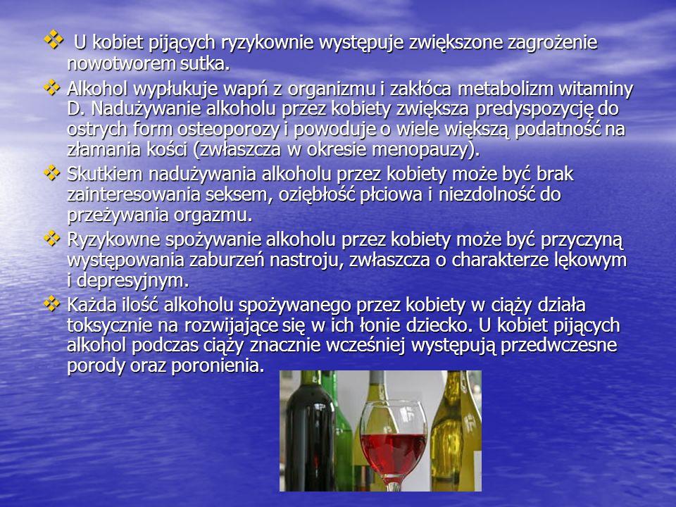 U kobiet pijących ryzykownie występuje zwiększone zagrożenie nowotworem sutka. U kobiet pijących ryzykownie występuje zwiększone zagrożenie nowotworem