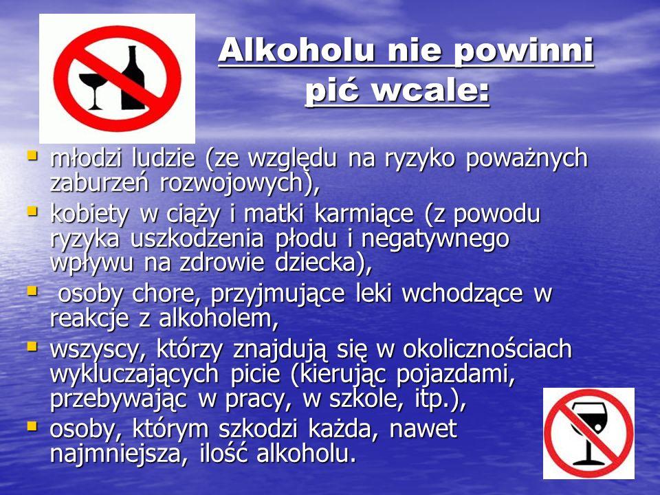 Alkoholu nie powinni pić wcale: Alkoholu nie powinni pić wcale: młodzi ludzie (ze względu na ryzyko poważnych zaburzeń rozwojowych), młodzi ludzie (ze