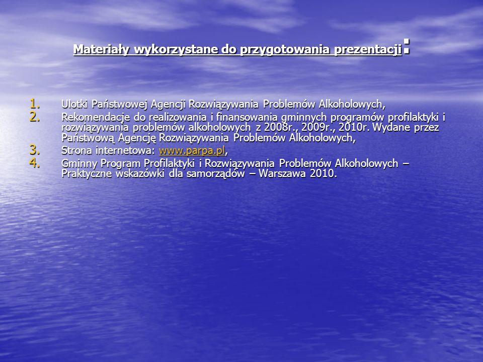 Materiały wykorzystane do przygotowania prezentacji : 1. Ulotki Państwowej Agencji Rozwiązywania Problemów Alkoholowych, 2. Rekomendacje do realizowan