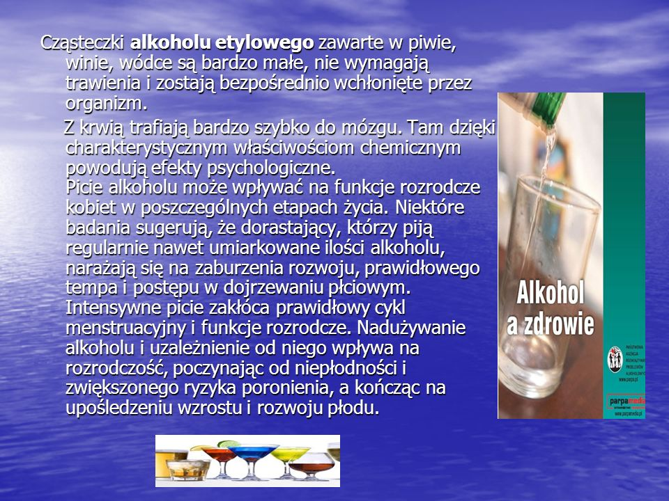 Cząsteczki alkoholu etylowego zawarte w piwie, winie, wódce są bardzo małe, nie wymagają trawienia i zostają bezpośrednio wchłonięte przez organizm. Z